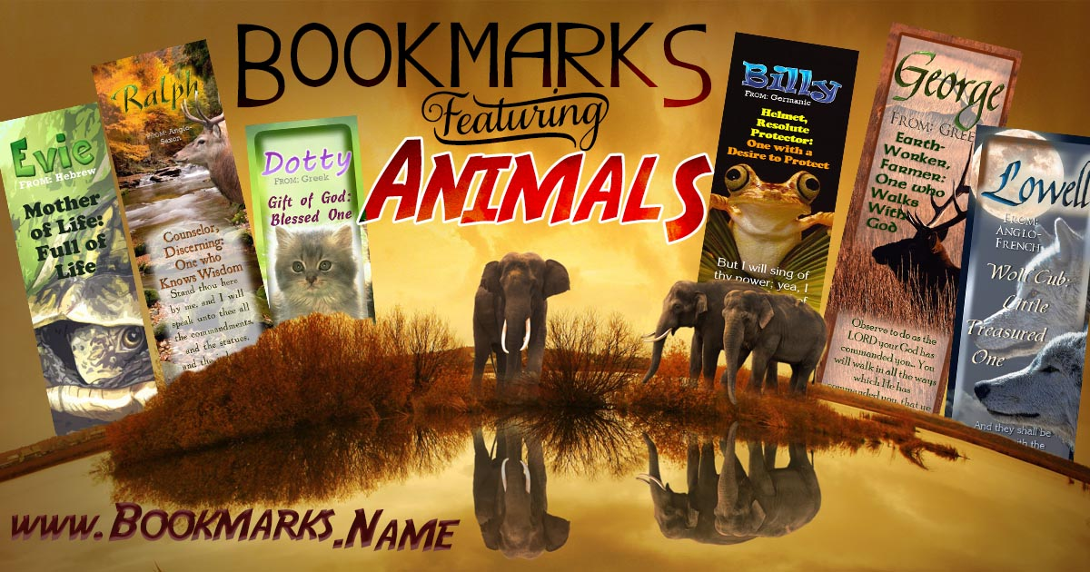 Name meaning bookmarks with cute animals; kittens, elephants, dogs, turtles