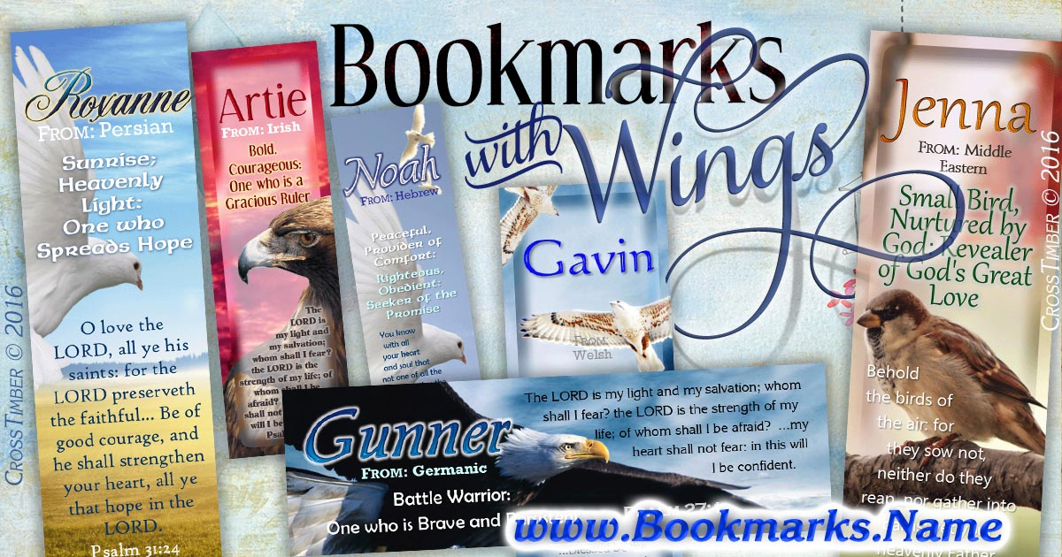 Eagles, Doves, Hawks, Sparrow, Chicken--all on name meaning personalized bookmarks