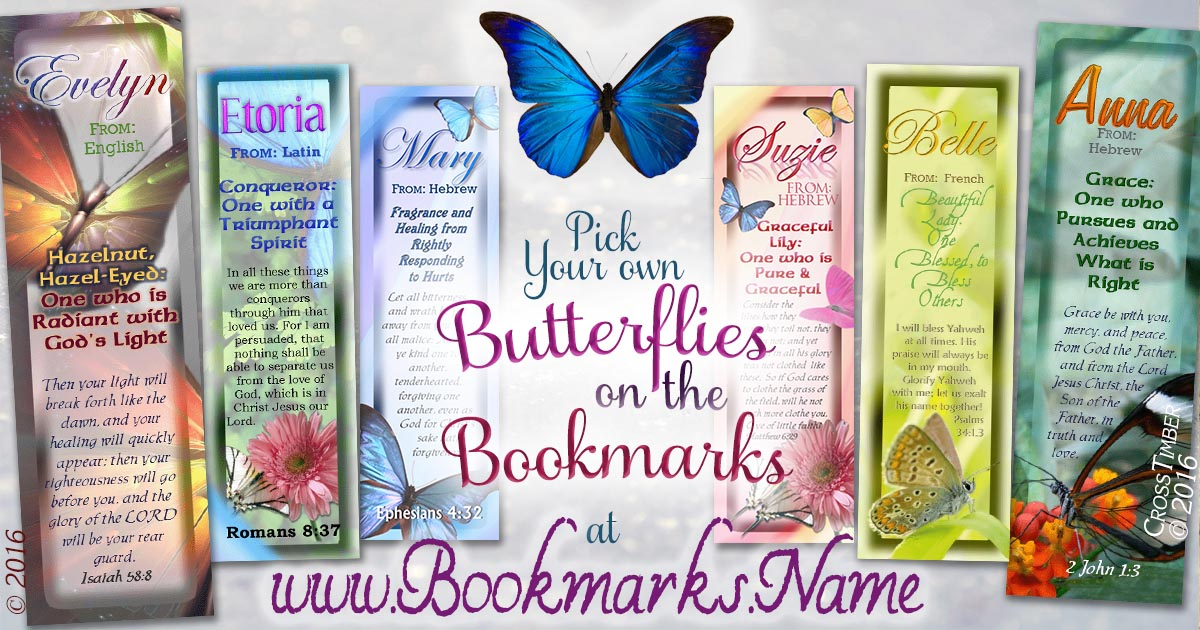 Elegant butterfly designs on laminated bookmarks