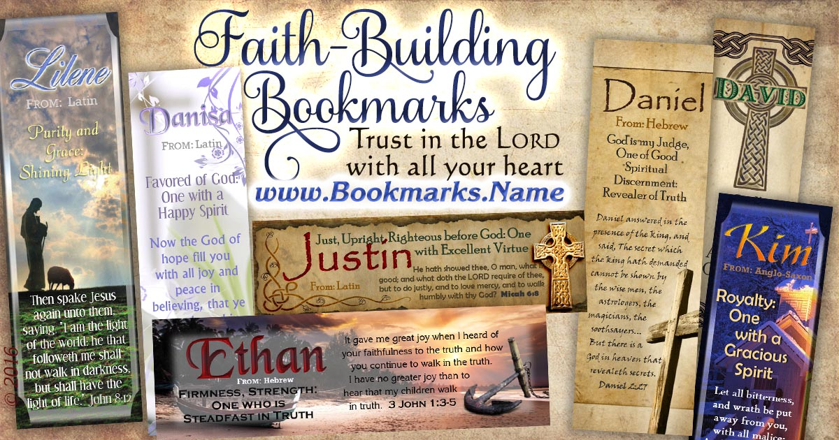 Symbols of faith and encouragement on name meaning bookmarks