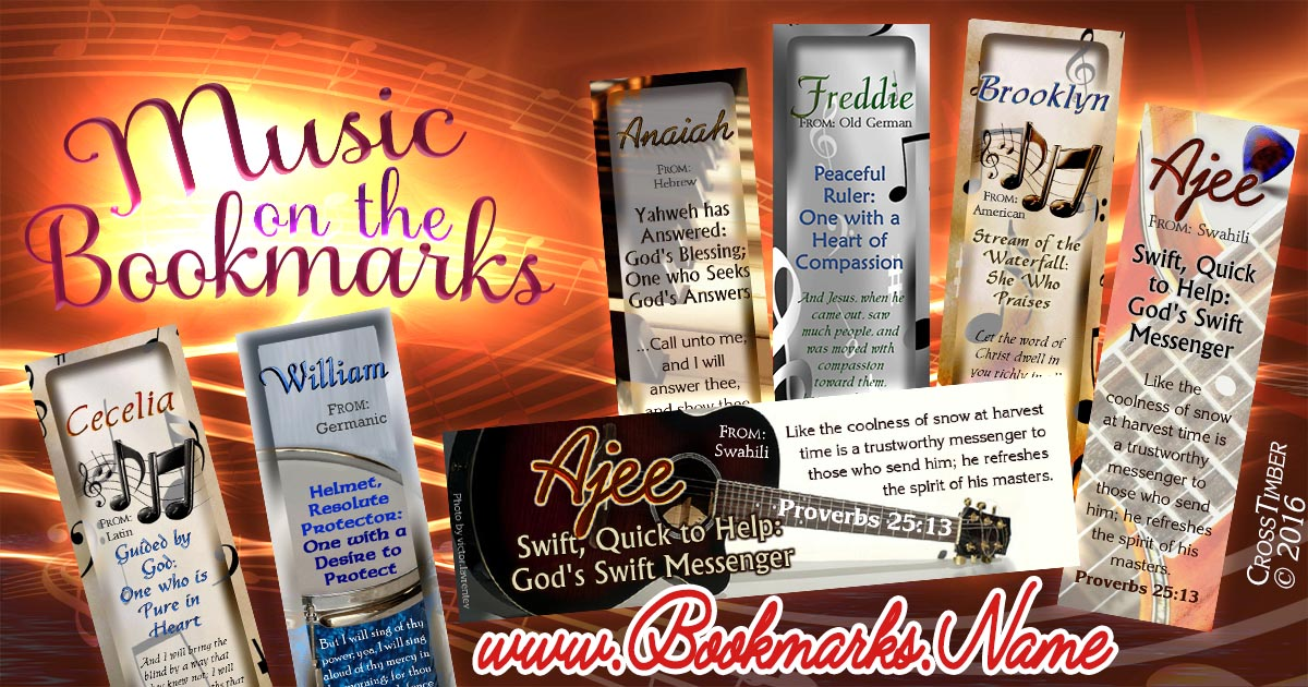 Name meaning bookmarks with music notes and musical instruments