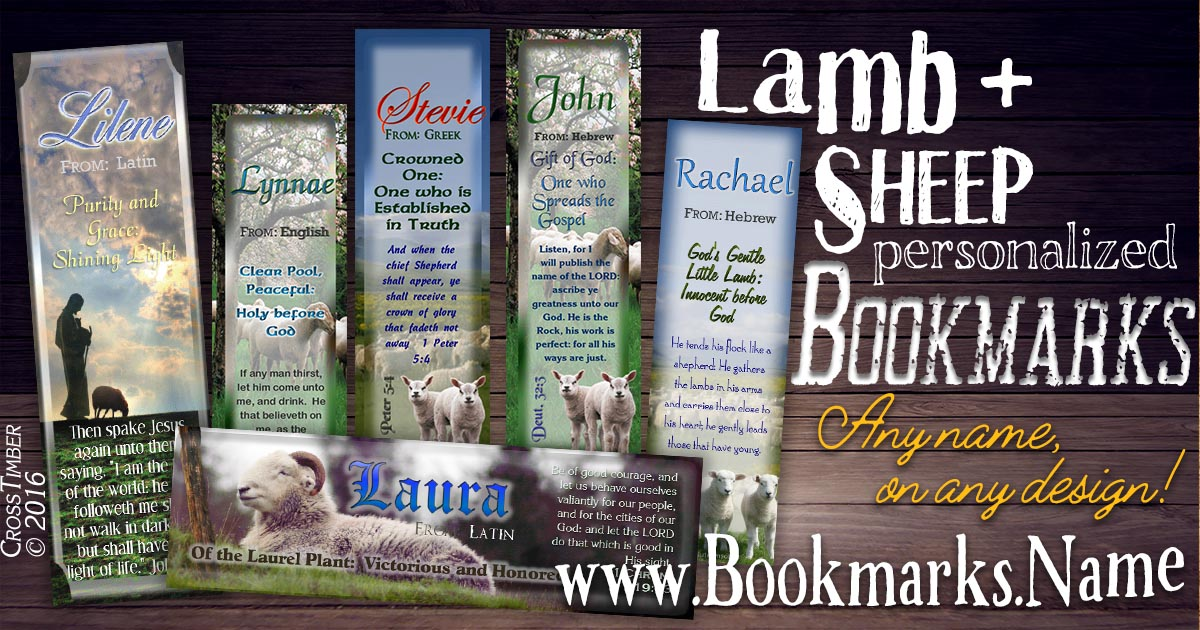 Christian name meaning bookmarks with bible verses and sheep, lamb and shepherd backgrounds
