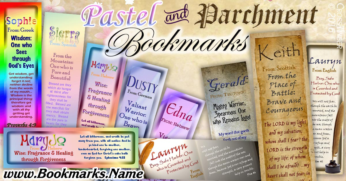 Basic, plain name meaning bookmarks with pastel colors and old parchment paper