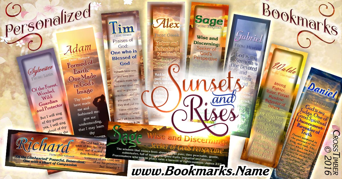 Personalized Christian name meaning bookmarks with sunsets and sunrises in the background