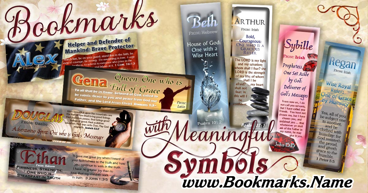 Symbolic Picture Bookmarks with name meanings.