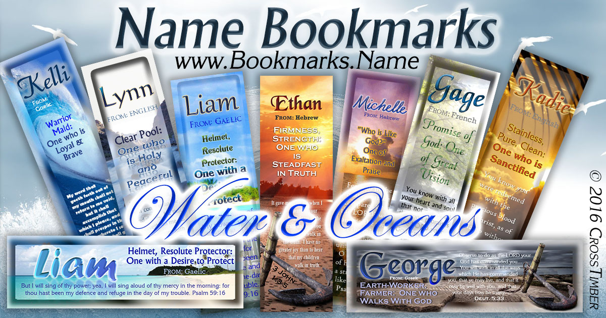 Name meaning bookmarks with a backdrop of Oceans, Rivers and Beautiful Sunsets reflecting on the water.