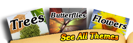 Choose from these themes for name meaning bookmarks: trees, butterflies and flowers