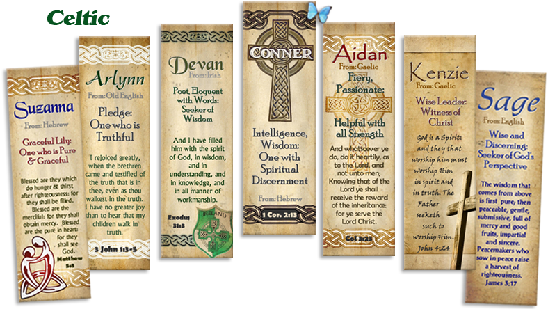 Celtic and Irish designs for personalized bookmarks